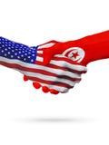 De samenwerking van het de vlaggenconcept van Verenigde Staten en van Tunesië, zaken, de sportenconcurrentie vector illustratie