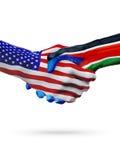 De samenwerking van het de vlaggenconcept van Verenigde Staten en van Zuid-Soedan, zaken, de sportenconcurrentie stock illustratie