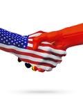 De samenwerking van het de vlaggenconcept van Verenigde Staten, Oost-Timor, zaken, de sportenconcurrentie vector illustratie
