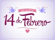 De San Valentin, spanische Übersetzung 14 de Febrero dia: Am 14. Februar Valentinsgrußtag Stockbilder