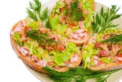 De sandwich van Blt met baconsla en tomaat Stock Foto