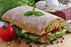 De sandwich van Ciabatta Stock Afbeeldingen