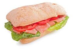 De sandwich van Ciabatta met prosciutto Stock Foto