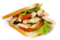 De sandwich van de kip die op wit wordt geïsoleerdd Royalty-vrije Stock Afbeeldingen