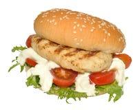De Sandwich van de kippenfilet Royalty-vrije Stock Afbeeldingen