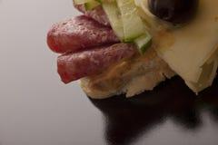 De sandwich van de salami en van de kaas Royalty-vrije Stock Foto