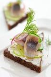 De sandwich van haringen royalty-vrije stock afbeeldingen
