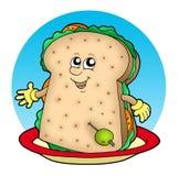 De sandwich van het beeldverhaal op plaat vector illustratie