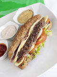 De sandwich van het braadstukrundvlees Stock Fotografie