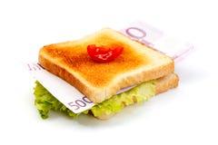 De sandwich van het geld stock afbeeldingen