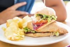 De Sandwich van het rundvlees met gebraden gerechten in linkerzijde royalty-vrije stock afbeeldingen