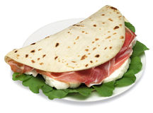 De sandwich van Piadina stock afbeelding