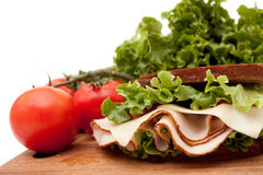 De sandwich van Turkije op roggebrood stock fotografie