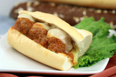De sandwich van vleesballetjes Stock Afbeeldingen