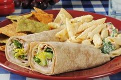 De sandwiches van de kippenomslag Stock Foto