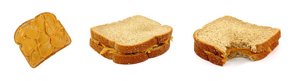 De Sandwiches van de Pindakaas Stock Foto's