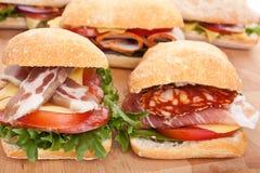 De sandwiches van het Ciabattabrood Royalty-vrije Stock Foto