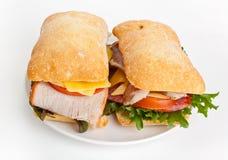De sandwiches van het Ciabattabrood Stock Afbeeldingen