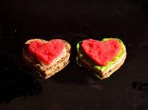 De sandwiches van Valentine ` s Stock Afbeelding