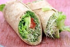 De sandwichomslagen van de veganist Stock Foto's