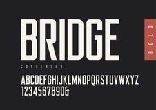De sans serif retro intrépido condensado Tipografías del vector, montaña mayúscula stock de ilustración