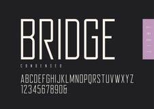 De sans serif retro ligero condensado Tipografías del vector, al mayúsculo ilustración del vector