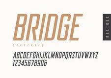 De sans serif retro oblicuo condensado Tipografías del vector, mayúsculas stock de ilustración
