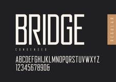 De sans serif retro regular condensado Tipografías del vector, mayúsculas ilustración del vector