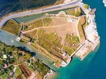 De Santa Maura Castle Lefkada del top opinión aérea abajo Imágenes de archivo libres de regalías