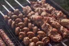 De sappige stukken van vleesclose-up op de grill op vleespennen naast heerlijke paddestoelen braadden op steenkolen stock afbeelding