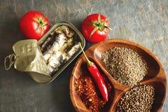 De sardines in a kunnen Royalty-vrije Stock Afbeelding