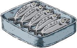 De Sardines van het beeldverhaal Stock Afbeeldingen