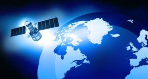 De satelliet cirkelt de Aarde Stock Foto