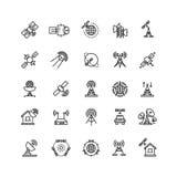 De satelliet en de baanmededeling, luchtlijn verdunnen pictogrammen Royalty-vrije Stock Afbeelding