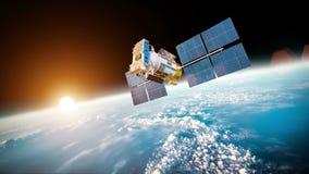 De satelliet stelt Zonnepanelen in Ruimte op 3D animatie royalty-vrije illustratie
