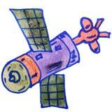 De satelliet van de de jonge geitjeswaterverf van het tekeningsbeeldverhaal op wit Royalty-vrije Stock Afbeelding