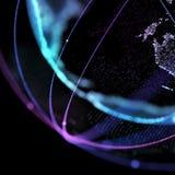 De satelliet van de wereldkaart, die de globale, Globale netwerkverbinding, internationale betekenis vertegenwoordigen 3D Illustr Stock Afbeelding