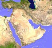 De satellietkaart van het Midden-Oosten Stock Afbeeldingen