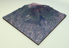 De satellietmening van Volcano Mount Galunggung Royalty-vrije Stock Afbeeldingen
