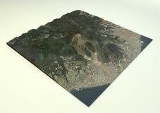 De satellietmening van Volcano Mount Unzen Stock Afbeeldingen