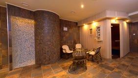 De sauna binnenlands decor van het kuuroord stock foto's