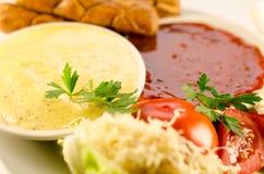 De saus van de tomaat en van de mosterd Stock Foto