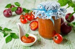 De saus van de tomatenketchup met knoflook, kruiden en pruimen Royalty-vrije Stock Foto
