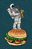 De saxofoon van astronautenspelen op een Hamburger royalty-vrije illustratie