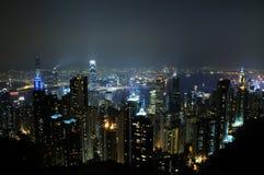 De scène FO Hongkong van de nacht Royalty-vrije Stock Afbeelding