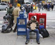 De scène regelt af en toe in Uit het stadscentrum Manhattan Stock Foto's