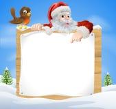 De Scène Santa Sign van de Kerstmissneeuw Stock Foto