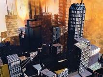De scène van Armageddon in stad royalty-vrije illustratie