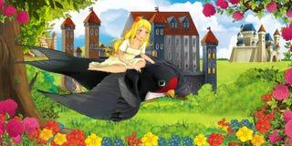 De scène van de beeldverhaalaard met mooie kastelen dichtbij het bos met het mooie jonge meisje vliegen op koekoeksvogel royalty-vrije stock afbeeldingen