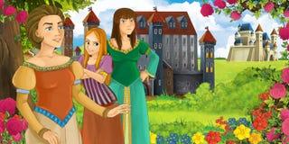 De scène van de beeldverhaalaard met mooie kastelen dichtbij het bos met mooie jonge meisjeszusters en moeder - illustratie voor stock foto